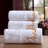 Baumwollbad-Tuch-weiße Farbe weiche Hand-Gefühl Hotel-Stickerei-Tücher