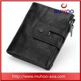 Держатель карты Bifold из натуральной кожи в стиле ретро мужчин Wallet кошелек в карман для мелочи