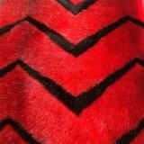 أحمر وسوداء لون جاكار [فوإكس] فروة قطيفة لأنّ لباس داخليّ, وسادة وحقيبة
