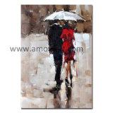 雨キャンバスの油絵の下の印象的な図