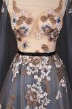 Платье вечера реальной вышивки серое с длинним Shwal Sleeves 2018