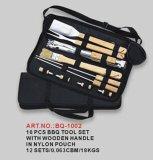 Werkzeug-Satz BBQ-10pcs mit hölzernem Handgriff im Nylonbeutel