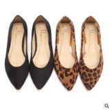 Оптовая торговля указал обувь ретро велюр Leopard металлические плоские обувь