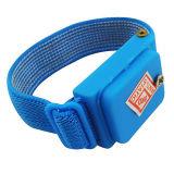 Línea azul venda del PVC de muñeca del poliester de la tela