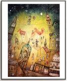 Het Schilderen van de Kunst van de Decoratie van de fantasie met het Houten Frame van de Douane voor de Studio van het Album
