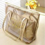 小さく装飾的な夏のゆとりのハンドバッグ透過浜袋(WDL01115)が付いているトートバックPVC浜の肩のハンドバッグ