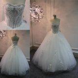 Vestido de casamento de perolização pesado do vestido de esfera de Tulle dos Sequins dos cristais do querido