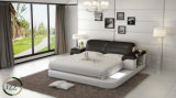 Base moderna do couro da mobília do quarto com diodo emissor de luz