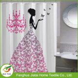 Seul rideau clair en gros en baignoire de rideau en douche de polyester