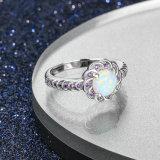 Großhandelsschmucksache-Ring-Feuer-Opal-Form-Silber-Schmucksachen