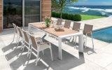 La aleación de aluminio mesa de comedor y una silla con acabado en madera de teca