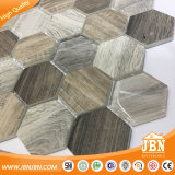 六角形木デザイン高品質のガラスモザイク・タイル(V645009)