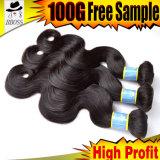100% cabelo do Virgin, extensão brasileira do cabelo da onda do corpo 10A