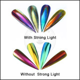 Laser-Chrom-Spiegel-Pfau-Regenbogen-ganz eigenhändig geschriebes Chamäleon-Nagel-Funkeln-Puder