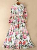 Европейский дизайн женщин одежда мода цветочные долго стиль одежды