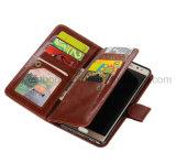 Cas de téléphone mobile de cuir véritable de Brown pour l'iPhone/Samsung