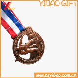 リボン(YB-LY-C-48)が付いている3Dによって浮彫りにされる金カスタムメダル