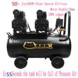 2X1400W 50L Silent Безмасляные воздушные Oiless компрессора воздушного компрессора