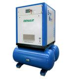물 처리를 위한 탱크에 의하여 거치되는 회전하는 나사 공기 압축기