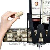 Estante negro del vino del metal del montaje de la pared con el vino o la palabra casera