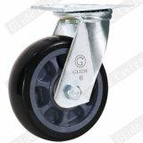 Hochleistungs-PU-Fußrolle mit seitlicher Bremse (Schwarzes) (runde Oberfläche)