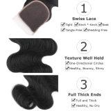 Chiusura calda della parte superiore del merletto dell'onda del corpo dei capelli umani di vendite 100%