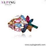 El rodio moda diseño de flor hojas de los cristales de Swarovski joyas Brooch