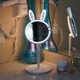 Beleuchteter Verfassungs-Spiegel 2 in 1 Kaninchen-Geformtem Falz-Arbeitsweg-Eitelkeits-Spiegel mit Tisch-Lampe, Touch Screen, der für EitelkeitCountertop sich verdunkelt