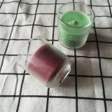Runde Bottem blaue purpurrote farbige Glasglas-Kerze mit ISO9001