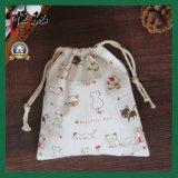 Bolsa de almuerzo de algodón impresa personalizada con cierre de cordón