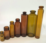 Color ambarino y claro del uso farmacéutico del frasco de cristal tubular