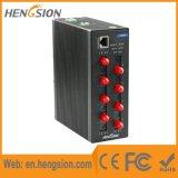 8つのファイバーおよび2つのSFPのポートによって管理される産業イーサネットスイッチ