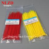 2017 ataduras de cables de nylon del nuevo amarillo del diseño/embalaje del OEM del soporte de los lazos del cierre relámpago