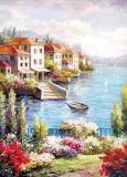Type estampé par coutume beau chemin de village avec la peinture d'art de paysage de fleuve