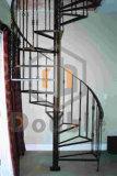 Escalier spiralé d'acier inoxydable avec l'opération en bois d'intérieur