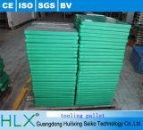 Paleta de madera verde de los útiles para la planta de fabricación