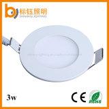 lumière mince de panneau de plafond du rond SMD DEL de 3W SMD2835 AC85-265V Flushbonading