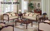 Presidenza classica della sede di amore dell'oggetto d'antiquariato del sofà del tessuto con il blocco per grafici di legno per mobilia domestica