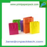 Bolso de encargo del embalaje de la ropa del papel de Kraft de los bolsos de las compras