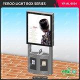 Город Mupi перечисляя освещенную контржурным светом прокладку СИД рекламируя индикацию светлой коробки с мусорным баком