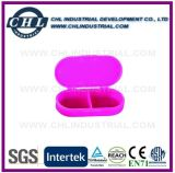 Logotipo personalizado 2 caja de la píldora del compartimiento de promoción de la cápsula Forma