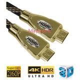 Suporte de alta velocidade 1.4V Ethernet, 3D, cabo HDMI de 4k
