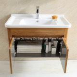 Ensemble de toilette en meuble de salle de bain en acier inoxydable durable avec motif en bois