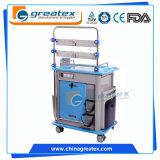 Carretilla utilitaria plástica/carro del ABS médico del hospital con tres estantes, ruedas bloqueables