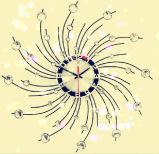 Orologio di parete decorativo di cristallo girante del metallo di figura rotonda