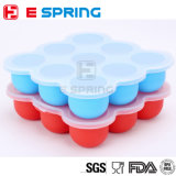 Plateau inodore non-toxique de conteneur d'aliments pour bébés de silicones de 9 cavités de prix de gros avec le couvercle de silicium
