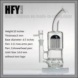 "Hfy 11 "" 20의 팔 나무 Percs Toro 유리제 수관 중대한 기능 무모한 Hookah 버플러 도매 연기가 나는 관"