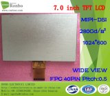 "7.0 "" 1024X600 Mipi 40pin 280CD/M2 Customizable 얇은 TFT LCD 스크린"