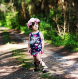 赤ん坊女の子の袖なしのふさのロンパース+ヘッドバンドEsg10181