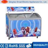 A abertura superior curvou o congelador da caixa do indicador da porta de vidro de deslizamento